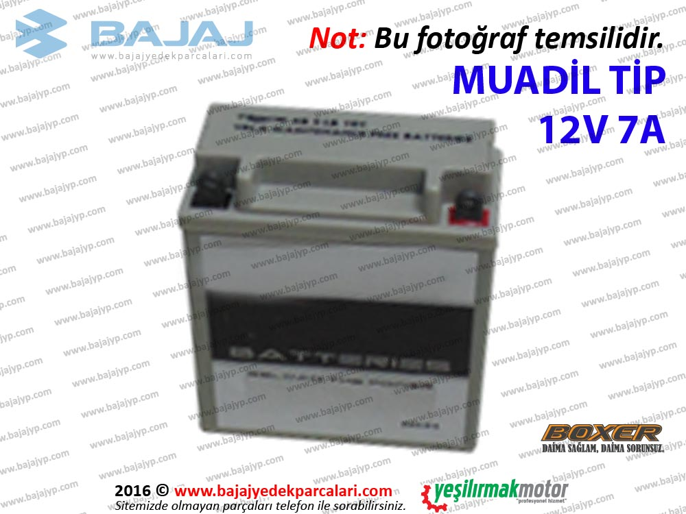 Bajaj Boxer BM150 Aküsü 12V 7A - MUADİL