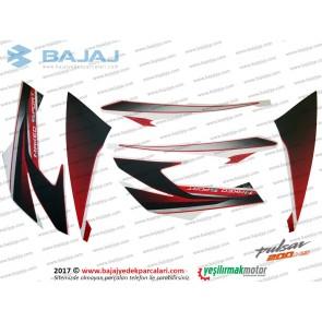 Bajaj Pulsar 200NS Dekoratif Kapak Etiket Takımı, Naked Sport - KIRMIZI