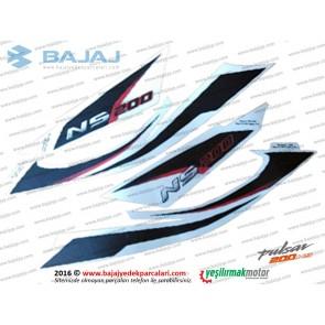 Bajaj Pulsar 200NS Sele Altı Panel Etiket Takımı - BEYAZ