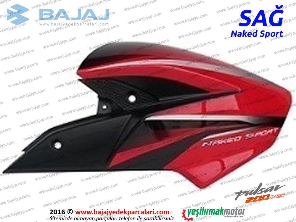 Bajaj Pulsar 200NS Yakıt, Benzin Depo Dekoratif Kapak Sağ - KIRMIZI - Naked Sport