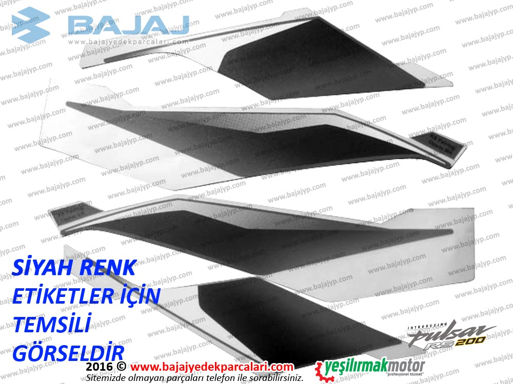 Bajaj Pulsar RS200 Far Muhafazasi Etiket Takımı - SİYAH