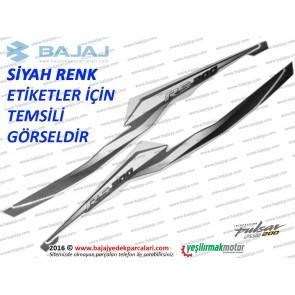 Bajaj Pulsar RS200 Sele Altı Panel Etiket Takımı, Sağ-Sol - SİYAH