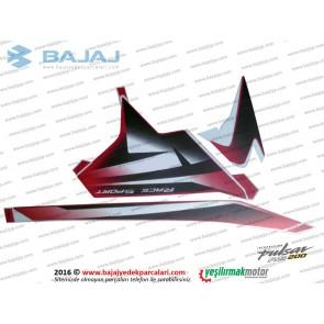 Bajaj Pulsar RS200 Yan Panel Sol Taraf Etiket Takımı - KIRMIZI